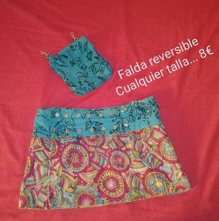 Falda reversible con bolsito