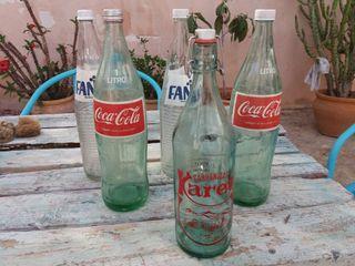 Botellas vintage coca-cola fanta gaseosa