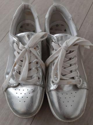 Zapatillas plataforma plata