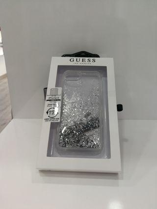 Funda IPhone Guess original glitter plata