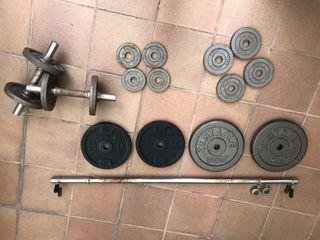 Kit de pesas y barras de musculación de 47 kg
