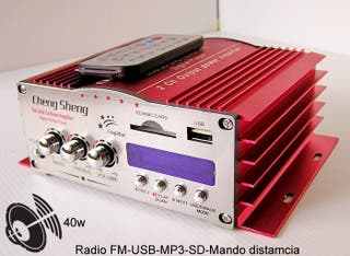 Reproductor MP3, amplificador, SD, USB, Radio FM