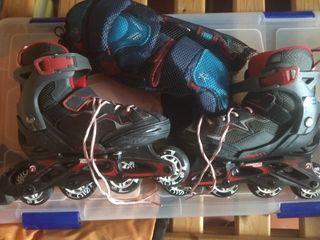 patines de línea 32-35 y protecciones