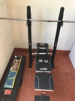 Kit de pesas y banco