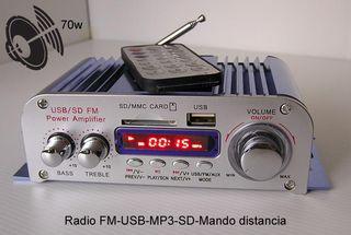 Mini etapa de potencia 70w con USB, Radio FM, MP3