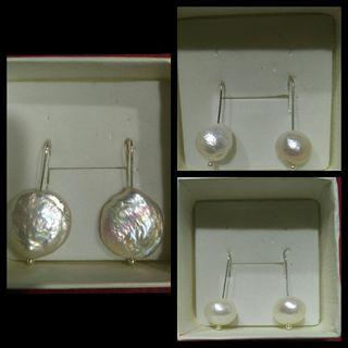 Pendientes perla y plata de ley