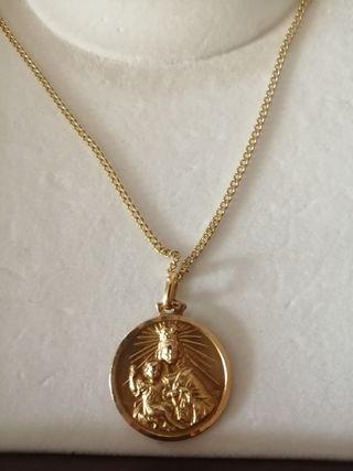 Cadena y medalla 2 caras oro 18 kilates