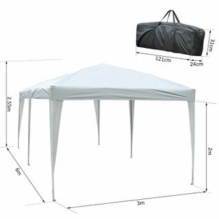 Carpa Cenador Plegable Toldo de Exterior 3x6x2,5m