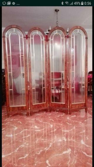Biombo madera y cristal decoracion