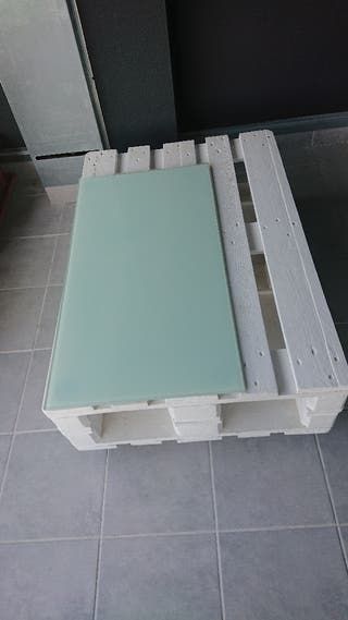 Mesa palet ruedas blanca