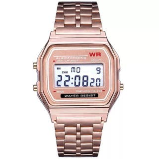Reloj digital dorado rosa