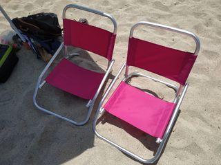 2 sillas de playa nuevas un solo uso.