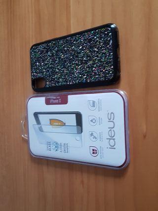 Cristal templado y funda de un móvil iPhone X