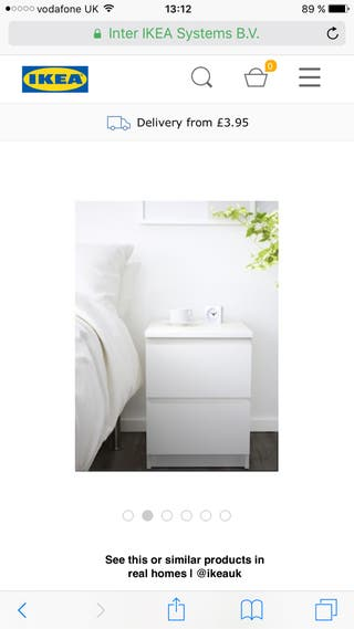 White night stand with 2 drawers