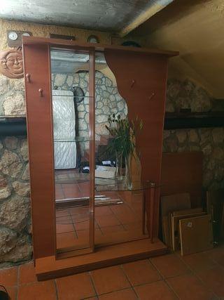 Mueble recibidor para Entrada con Espejo y baldas
