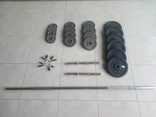 Kit musculación discos, barra y mancuernas