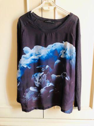 Suéter fino Zara con estampado delantero en seda