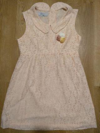Vestido nuevo crochet rosa nude Diksi T. XL