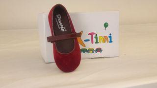 zapatos de niña terciopelo granate número 22