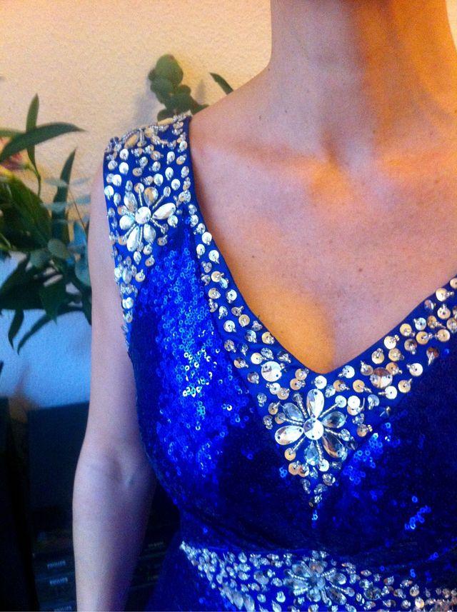 Vestido Fiesta lentejuelas Azul precioso brillante
