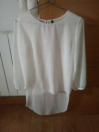 blusa. camison. transparente blanco. playa