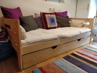 Sofá cama de madera con cajón LUFE