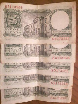 Billetes cinco pesetas 1954