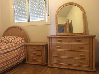 Conjunto dormitorio mimbre trenzado