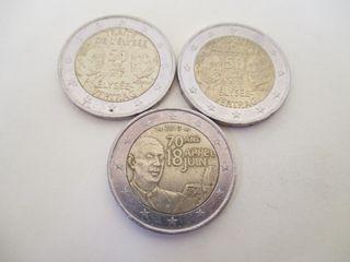 3 MONEDAS CONMEMORATIVAS DE 2 EUROS FRANCIA
