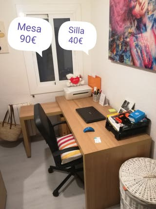 escritorio extensible y silla