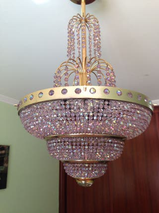 Lámpara de cristal austriaco de color rosa