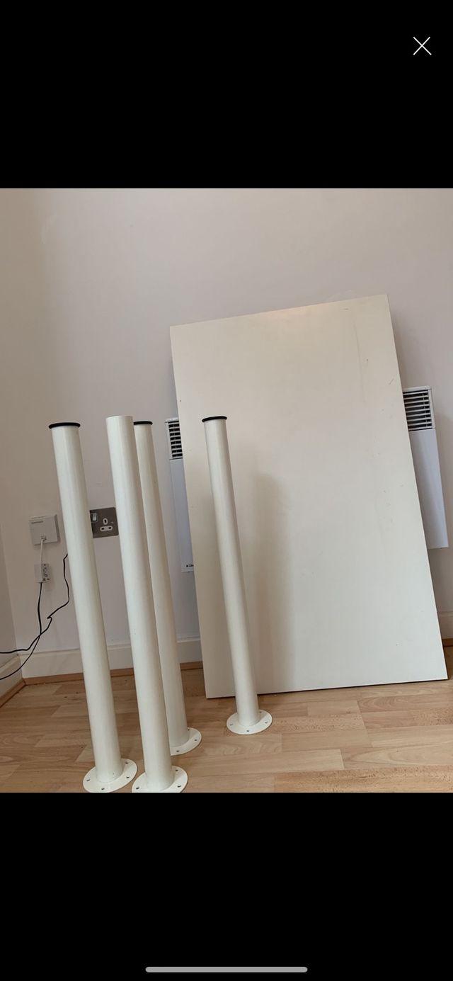 Small, white IKEA desk