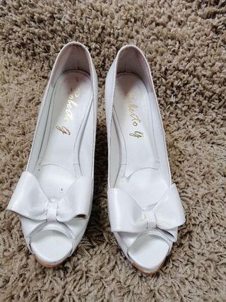 Zapato Novia Blanco Piel.