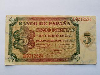 5 pesetas 1938 de Burgos
