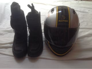 Helmet and boots for motorbike