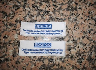 etiquetas homologacion asientos sparco