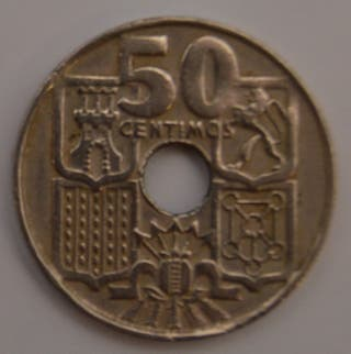Moneda 50 centimos peseta 1949 sin marcar (rara)