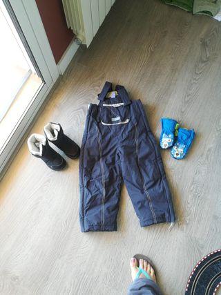 pantalons,guants,botes esqui,neu,nieve, nen, niño