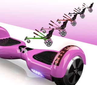 Hoverboard bluetooth + kart asiento silla ROSA