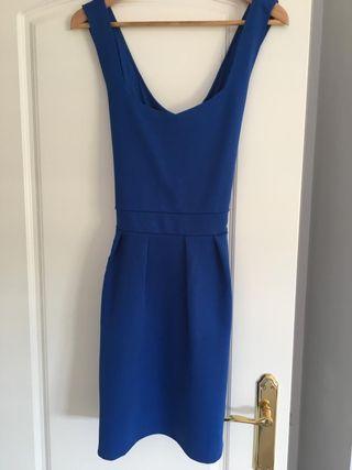 Vestido cruzado espalda azul klein T 38