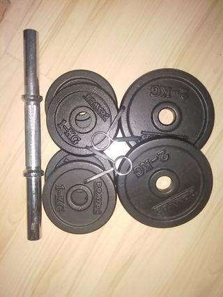 Mancuerna y pesas marca Domyos