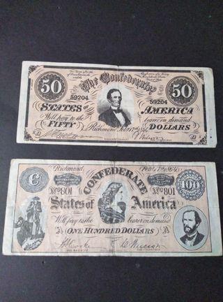 Set billetes Confederados USA.