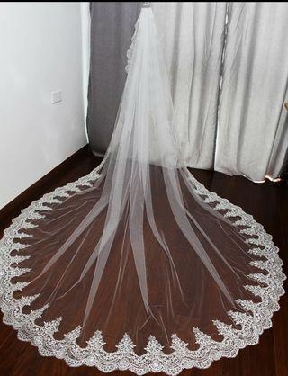 2m,3m,3.5m ,5m Precioso Velo de novia . Nuevo !