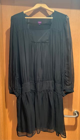 Vestido negro gasa Adolfo Domínguez