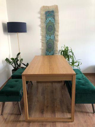Mesa comedor con cajones_color roble_semi NUEVA