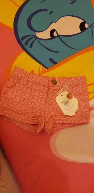 Pantalón corto rosa niña