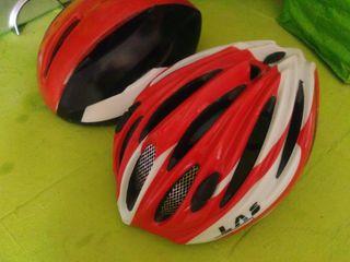 2 Cascos bici bicicleta carretera rojo negro blanc