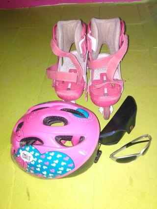 Kit patines niña casco gafas Rudi Project rosa