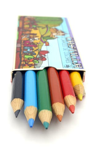 Caja vintage con 6 lápices de colores. Castilla