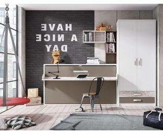 Dormitorio con cama abatible horizontal ybn38